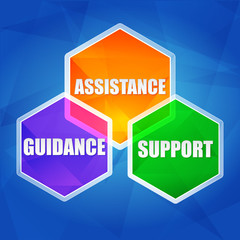 assistance, support, guidance in hexagons, flat design