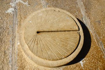 Ancient sundial in Jaisalmer fort,India
