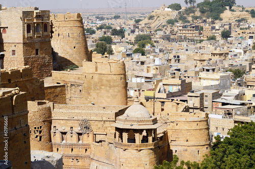 View of golden Jaisalmer from city fort in Rajasthan,India,Asia