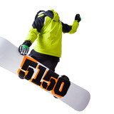 Snowboarder at jump isolated