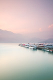 Beautiful sunrise of Sun Moon Lake in Taiwan