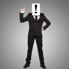 Businessman covered with box and with the question