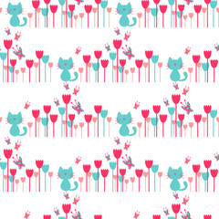 Seamless pattern with cute kittens in flowers