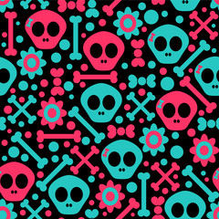 Seamless pattern with funny skulls