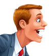 Young man excited happy smile vector head