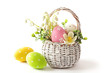 canvas print picture - easter eggs in basket isolated on white background