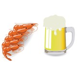 mug of beer and shrimps
