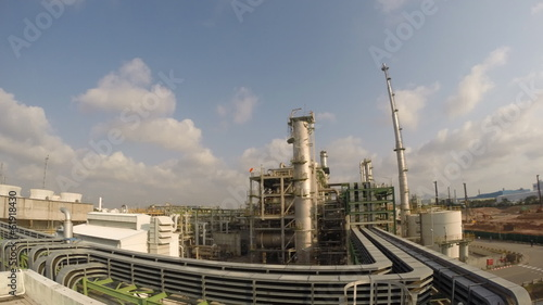 Chemical plant with sky , HD Time lapse