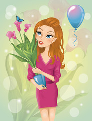 Cute cartoonish birthday girl holding a plant in a pot.