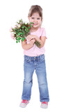 Pretty little girl holding bouquet isolated on white