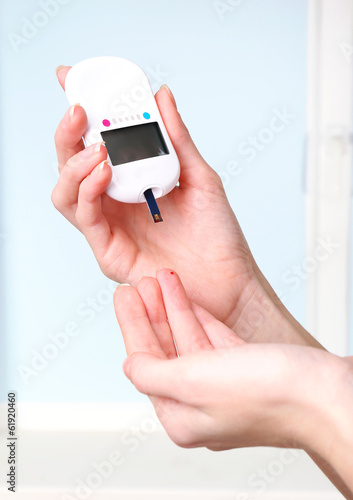 Measuring glucose level blood close-up