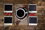 Composition with coffee cup, decorative hearts, spices and old