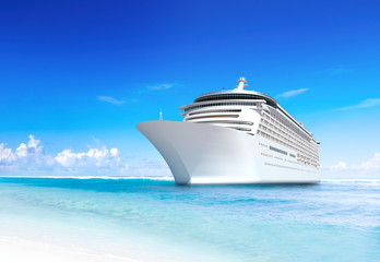 3D Cruise Ship by Shore