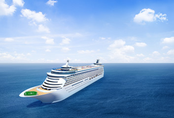 Scenic View Of The Ocean With 3D Cruise Ship