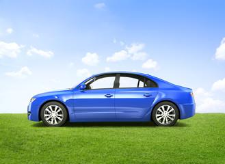 Shiny Blue 3D Sedan Outdoors