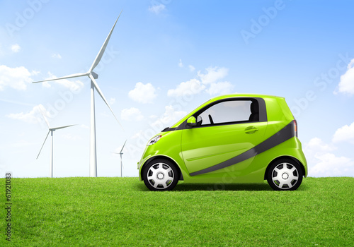 Electric Hybrid Green 3D Car With Windmill