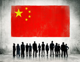 Silhouette of Business People at Flag of China