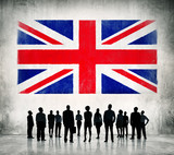 Silhouette of People at United Kingdom Flag