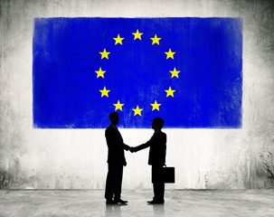 Business Handshake with European Union Flag