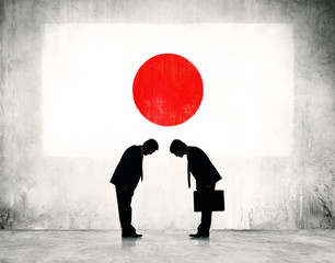 Business Greeting in with Japanese Flag