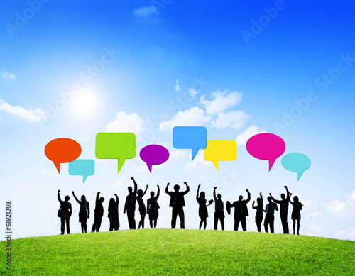 Group of Business People Celebrating with Colorful Speech Bubble