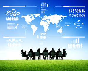Group of Business People Learning Global Business Situation