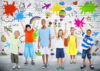 Group of Children Painting on the Brick Wall