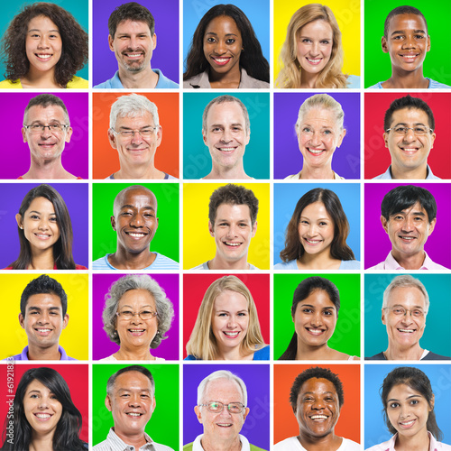 Multi-Ethnic World People with Colorful Background