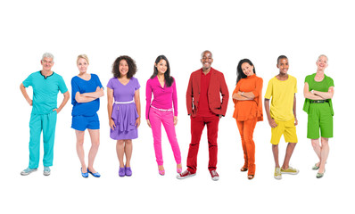 Large Group of Diverse Multi-Ethnic Colorful World People