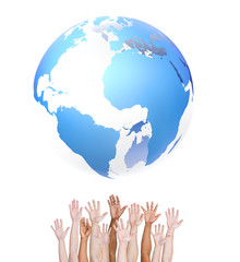 Diverse Hands Reaching for a Globe