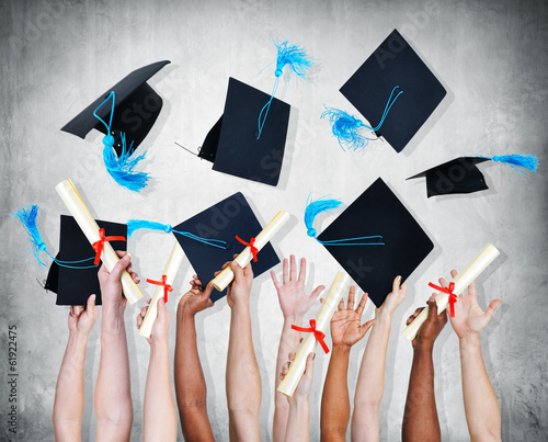 Group of People Celebration and Throwing Mortarboard