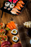 Japanese concept with sushi on the wooden table