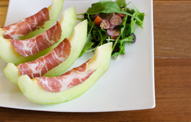 Coppa ham with melon