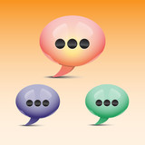 Glossy speech bubbles vector icons for web designers