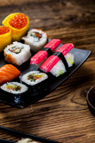Decorative composition with sushi, Japanese seafood