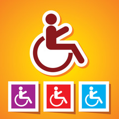 Colourful editable icon of handicap or wheelchair person