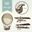 hand-drawn vintage aircraft illustrations