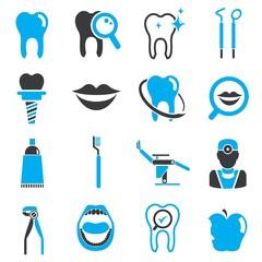 dental icons, blue theme