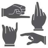 set of hand in different postures