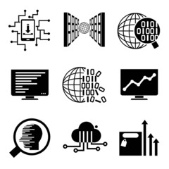 data analytics, data analysis, network icons