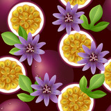 Fruity seamless pattern with passion fruit and flowers