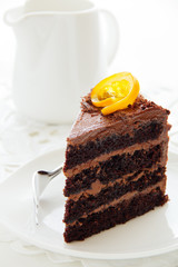 chocolate cake with oranges.