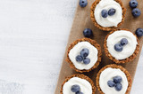 Healthy dessert pie with fresh blueberry