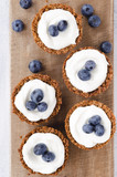 Blueberry tarts overhead
