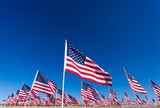 A display of American flags with a sky background - 61926263