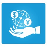 hand holding globe with currency