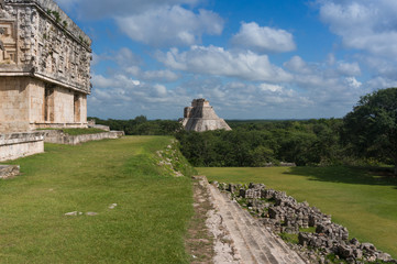 Governor's Palace and Pyramid of the Magician in Uxmal, Mexico