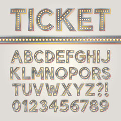Silver Bright Broadway Alphabet and Numbers, Eps 10 Vector Edita