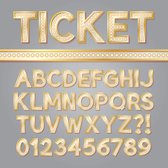 Golden Bright Broadway Alphabet and Numbers, Eps 10 Vector Edita