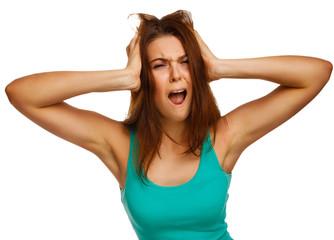 woman screaming wild hair her mouth prislanila